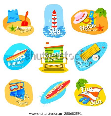 Summer design elements - stock vector