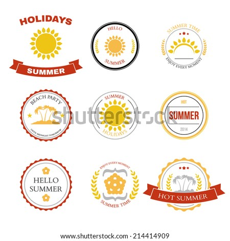Summer design elements and typography design. Retro and vintage templates. Labels, badges. Vector illustration - stock vector
