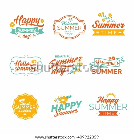 Summer design elements and typography. Retro and vintage templates. Flourishes calligraphic ornaments, labels, badges, cards.