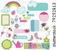 Summer Design Elements for scrapbook, card, invitation - stock vector