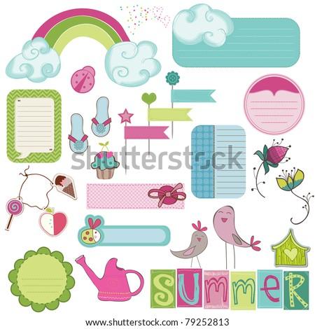 Summer Design Elements for scrapbook, card, invitation - stock vector