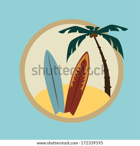 summer design over blue background vector illustration     - stock vector