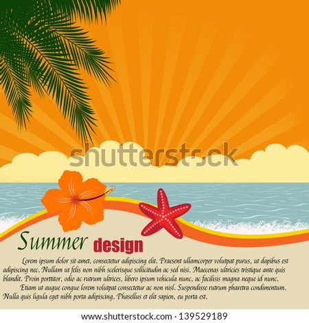 Summer design poster with space for your text, vector illustration - stock vector