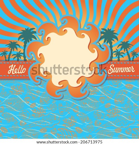 Summer design template with Doodle pattern ,ribbon and label in sun shape.Funny Sea Life  and palm tree. Fish,shell,corals ,seaweed.Outline image on blue background.Vector illustration for children - stock vector