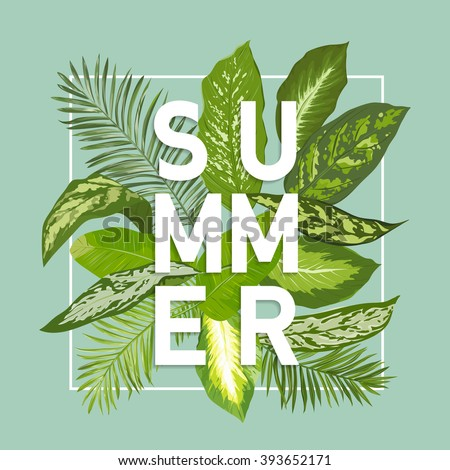 Summer Design. Tropical Leaves Background. Vector. T-shirt Fashion Graphic. Exotic Background. - stock vector