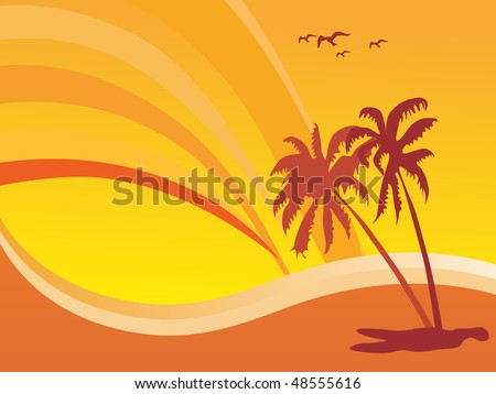 summer design with palm tree and rainbow background - stock vector