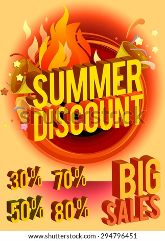 summer discount banner - text 3d in yellow and orange. business seasonal shopping concept, vector - stock vector