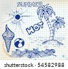 Summer doodle elements - sun, ocean, palm trees, ice cream, ball - stock vector