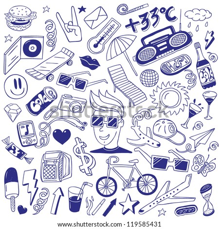 summer - doodles collection - stock vector