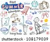 Summer doodles, vector illustrations - stock photo