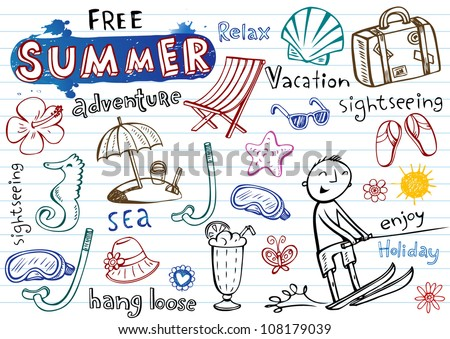 Summer doodles, vector illustrations - stock vector