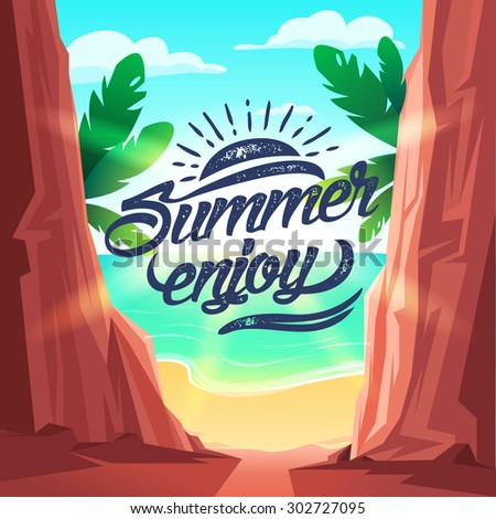 Summer enjoy poster. Vector illustration. Summer holiday background beach with a palm tree, sand and sun - stock vector