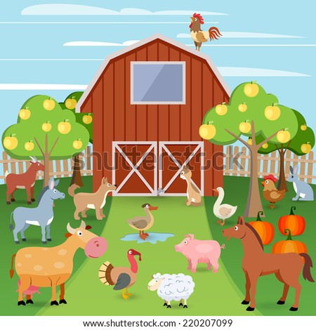 Summer farm with wooden house and domestic animals vector illustration