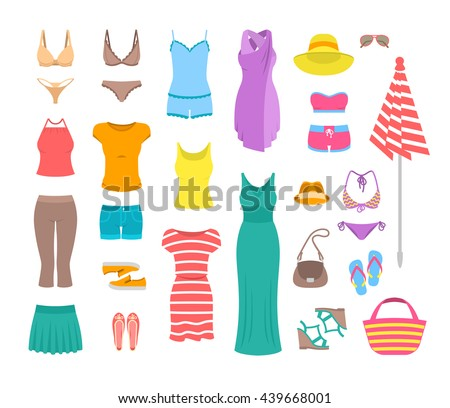 Summer female outfit flat vector icons. Women clothes and accessories collection for summer vacation. Casual fashion infographic elements. Basic tops, skirt, shorts, shoes, dresses, beach clothing - stock vector
