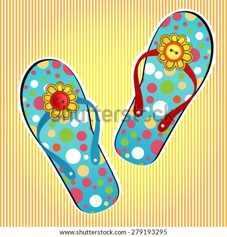 Summer flipflops flower and buttons on the strap (One red strap one blue,one red button one yellow)  - stock vector