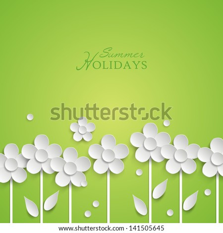 Summer floral background with paper white flowers. Vector illustration