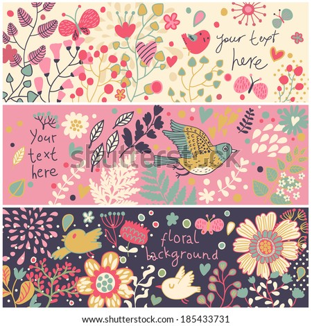 Summer floral banners in vector. Birds and butterflies in flowers. Bright concept cards in cartoon style  - stock vector