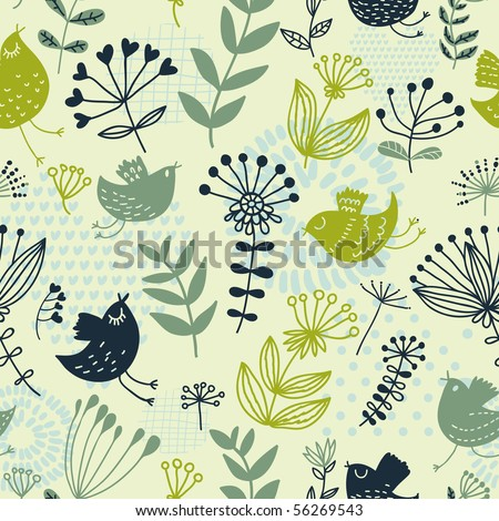 Summer floral design pattern, for stylish wallpapers in green colors - stock vector