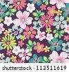 summer floral garden seamless pattern - stock photo