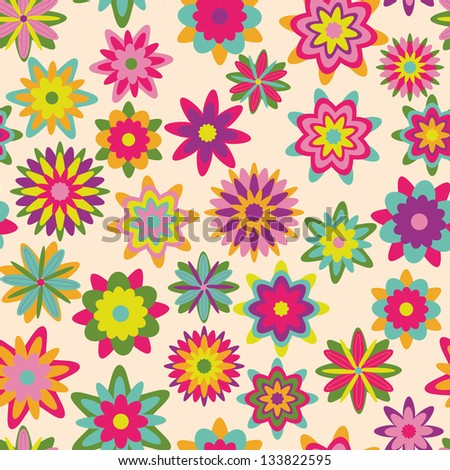 summer floral garden seamless pattern - stock vector