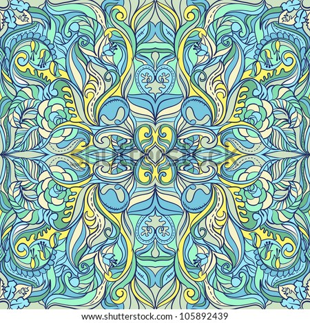 Summer  Floral Vector Colorful Ornate Seamless Pattern - stock vector