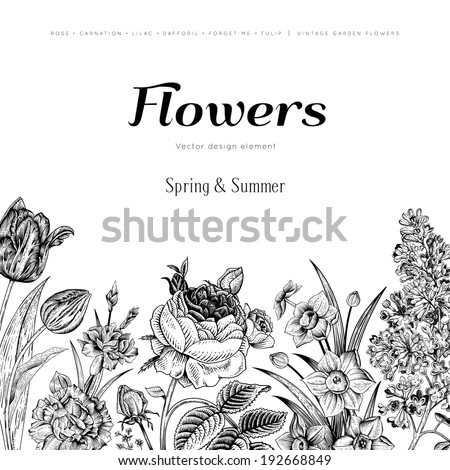 Summer floral vintage vector background. Blossoming garden black flowers on a white background. Rose, lilac, carnation, daffodil, tulip. Monochrome. - stock vector
