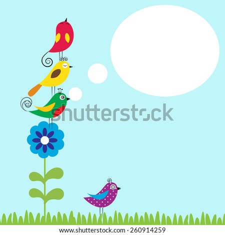 Summer flowers with colorful and funny birds - stock vector