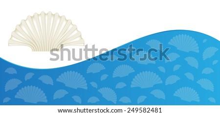 summer flyer design with sea shells - stock vector
