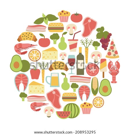 summer food festival. round design element with food icons - stock vector