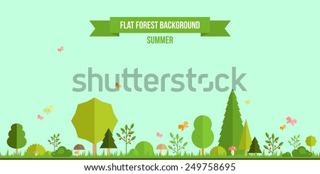 Summer forest flat background. Simple and cute landscape for your design - stock vector