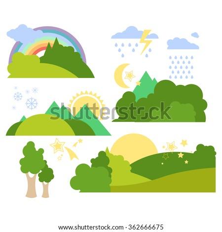 Summer Forest Flat Background Vector Illustration Set - stock vector