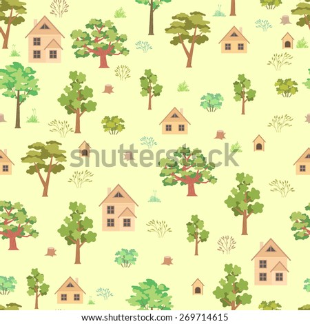Summer forest house seamless pattern on yellow background