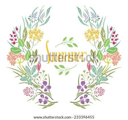 Summer Frame of flowers - stock vector