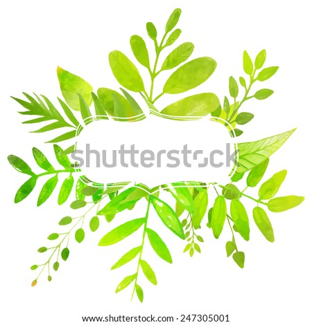Summer frame with painted bright green leaves. Vector nature illustration.  - stock vector