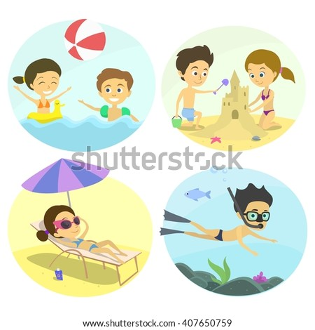 Summer fun at the beach with the kids. Family holidays by the sea. children build a castle on the sand, sunbathing under a parasol, underwater diving child inflatable ball game. childrens illustration