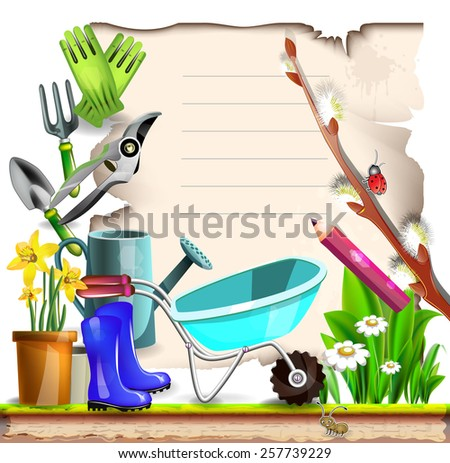 Summer garden tools with note paper with pussy willow  - stock vector