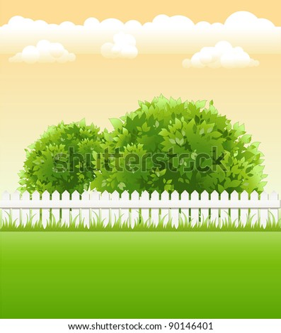 summer garden with bushes and light railing - stock vector