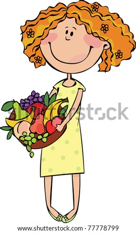 Summer girl with a basket of fruit - stock vector