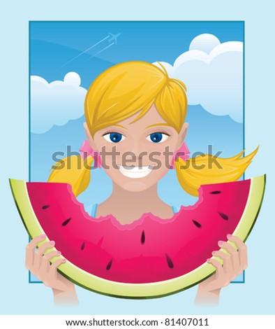 Summer Girl with Watermelon - vector - stock vector