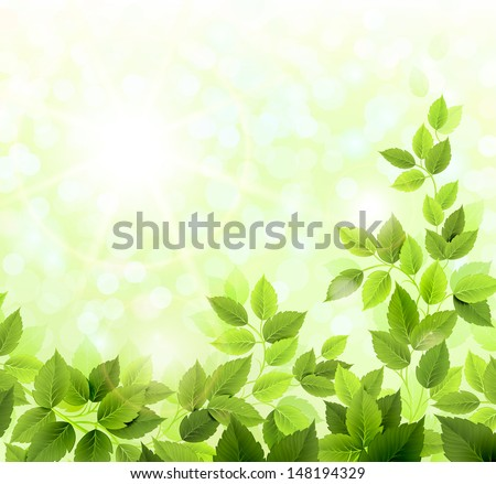 Summer glade with fresh green leaves  - stock vector