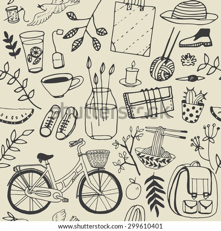 Summer good mood doodles set. Hand draw flowers, bicycle, backpack, food. Illustration, cute background. - stock vector