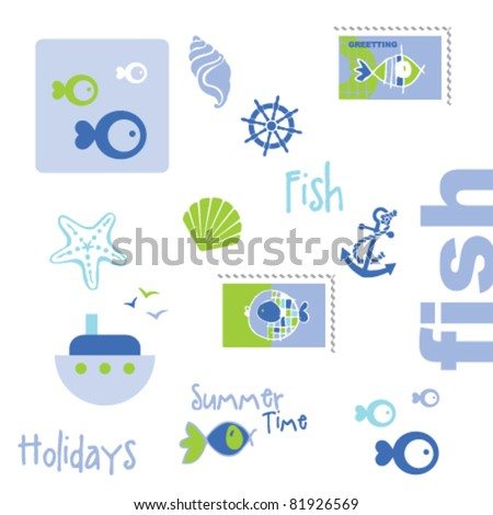 Summer graphic elements - stock vector
