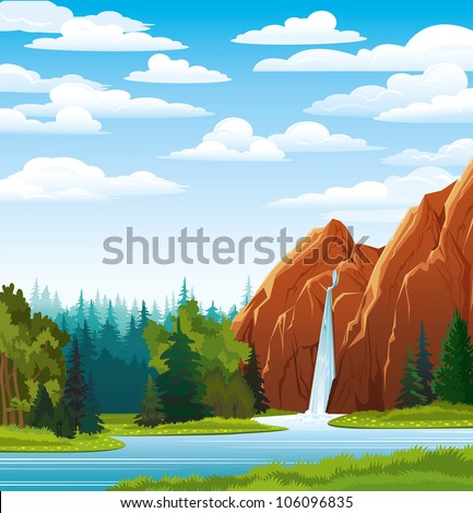 Summer green landscape with beautiful waterfall and forest on a blue cloudy sky - stock vector