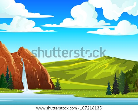 Summer green landscape with waterfall and hills on a blue cloudy sky - stock vector