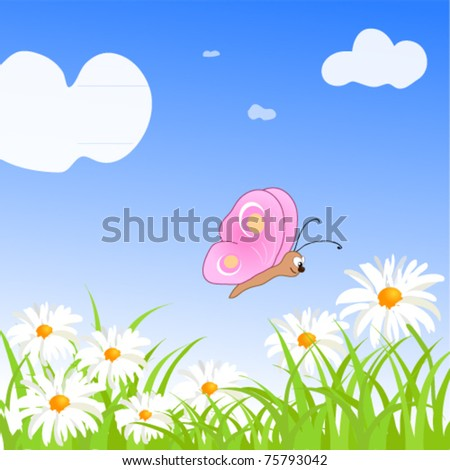 summer green meadow with flowers and butterflies. Vector illustration. - stock vector