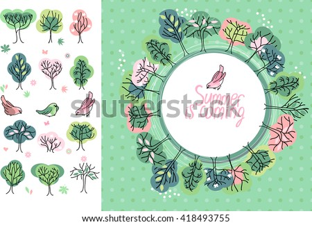 Summer greeting card. Phrase Summer is coming. Blossoming trees and flowers. Round frame. Template for your design, festive greeting cards,  announcements, posters. - stock vector