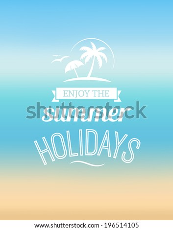 Summer greeting card with the sea and the sun - stock vector