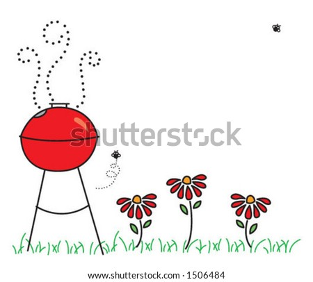 summer grill party - stock vector