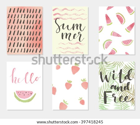 Summer hand drawn calligraphic card set. Vector illustration. A set of flyers, brochures, templates design. Vintage watercolors cards with lettering, patterns and ornaments.  - stock vector
