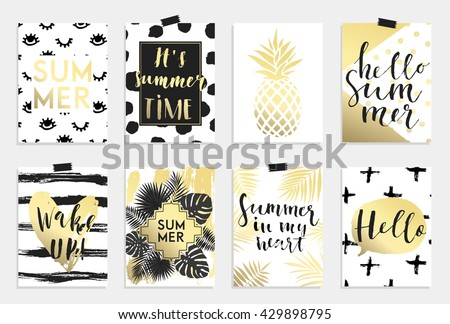 Summer hand drawn calligraphyc card set. Vector collection of black, white, gold colored summer cards. Beautiful summer posters with pineapple, palm leaves and hand written text. Journal cards